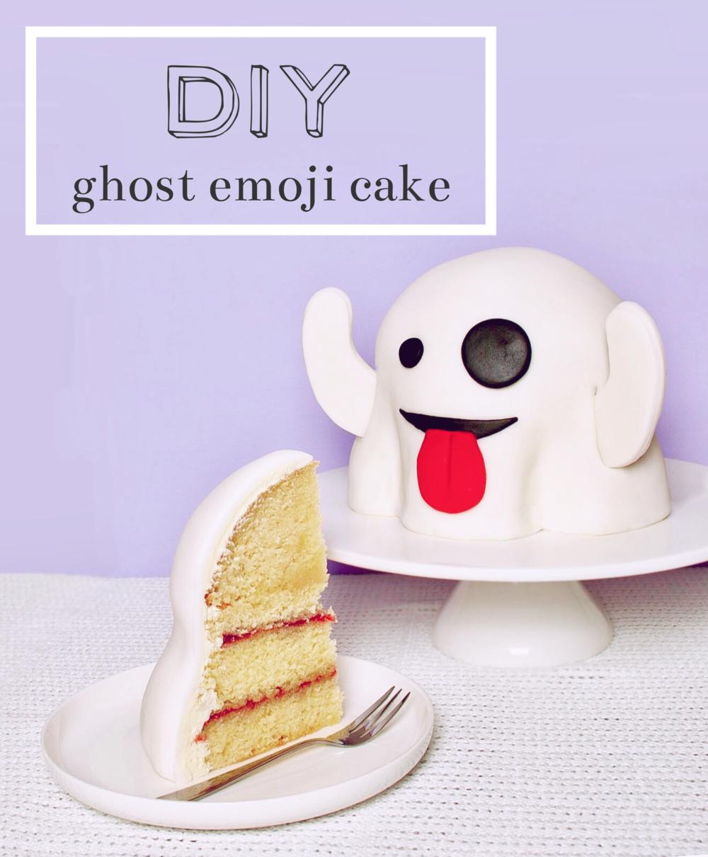 DIY Ghost Emoji Cake - Boo!