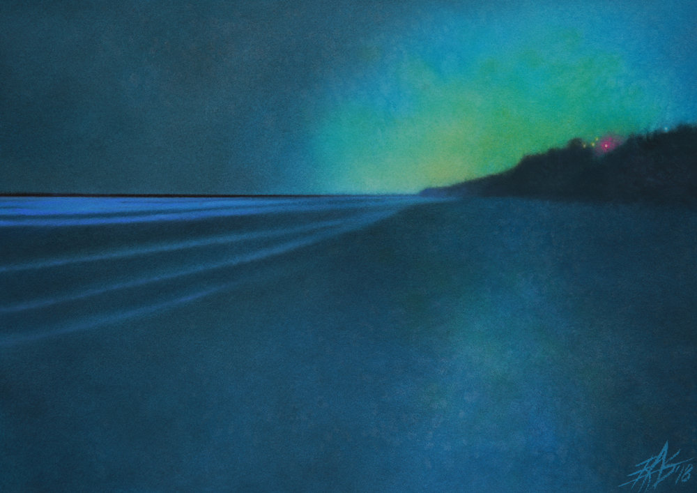 "Robin Street-Morris.  Luminescence at Torrey Pines II . 2018. Transparent watercolor and soft pastel on 300lb hot press paper. 14"" x 20"" (36 x 51cm)."