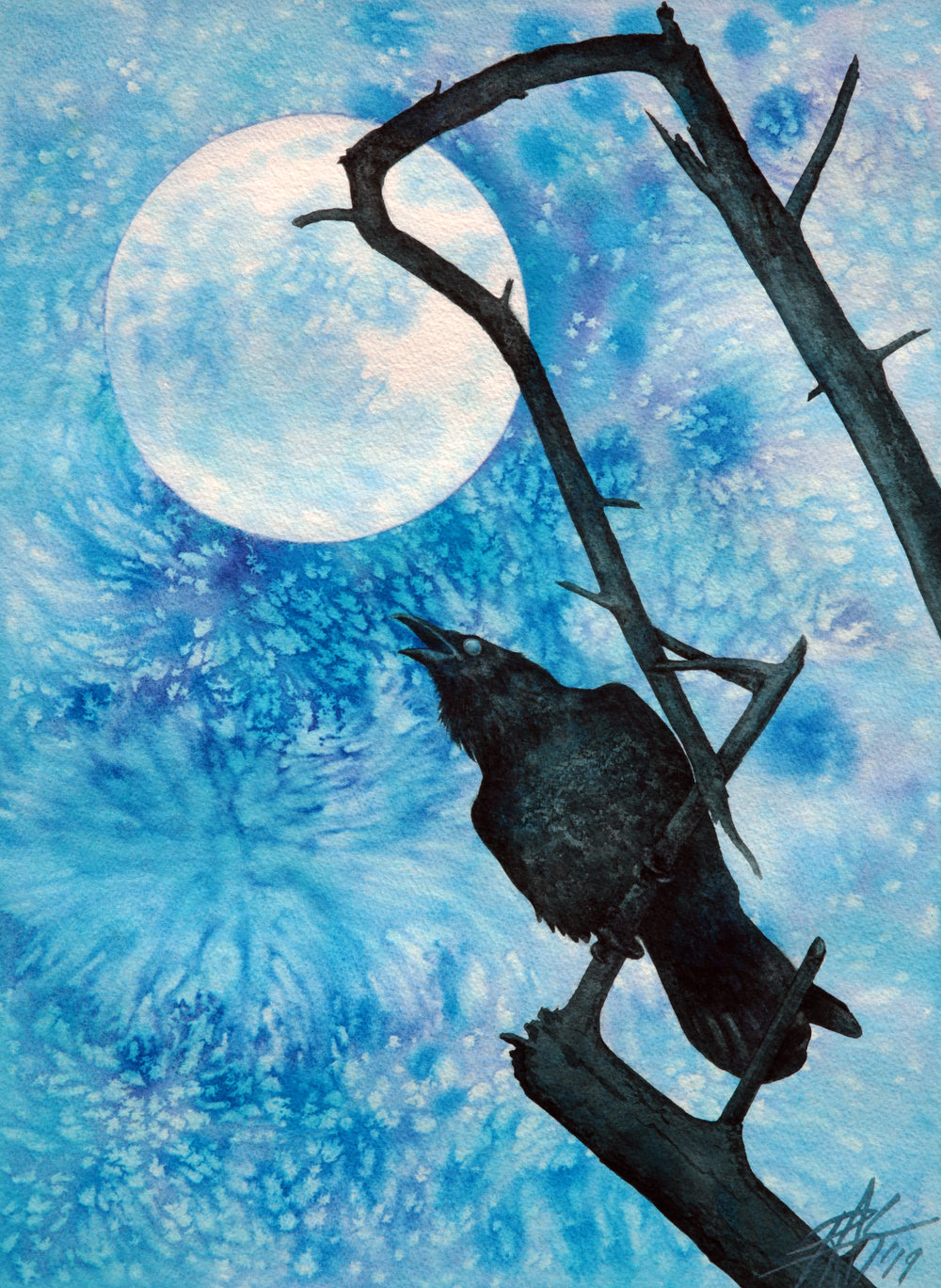"Raven with Torrey Pine Branch and Cold Moon . 2019. Transparent watercolor on 300lb cold press paper. 14"" x 19"" (36 x 48cm)."