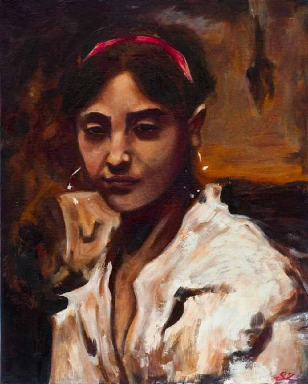 "Study of John Singer Sargent's ""A Capri Girl"" - oil on canvas (2013)"
