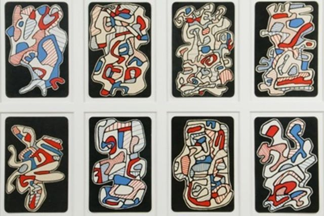 """A set of eight playing cards from Jean Debuffet's """"Banque de L'Hourloupe, Cartes a Tirer""""."""