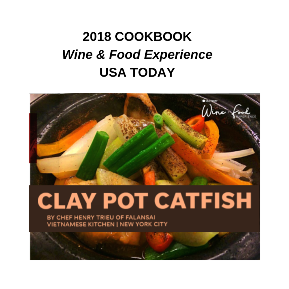 Falansai's Catfish Clapot in USA Today Wine & Food Experience Cookbook