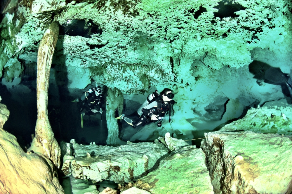 Cavern diving, Tulum, Mexico