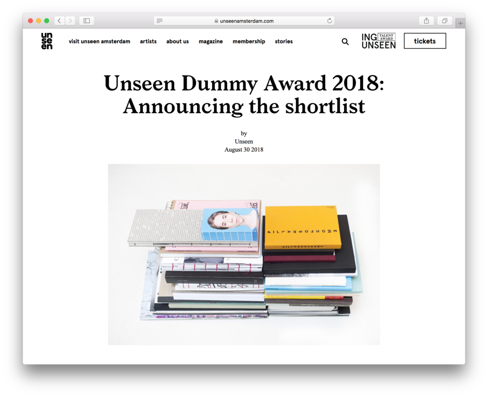 Unseen Dummy Award 2018   My photobook ≫Familie werden≪ has been shortlisted for the Unseen Dummy Award