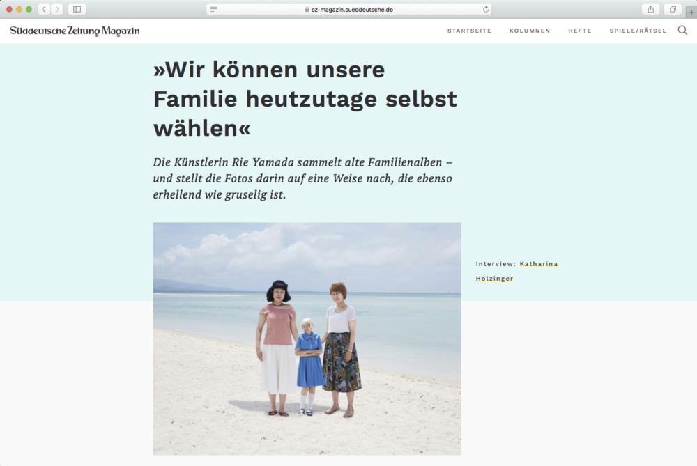 Süddeutsche Zeitung Magazin   Interview by Katharina Holzinger January 2019