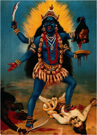 Since the earth was created out of darkness, the dark black color of Kali symbolizes the color from which everything was born.