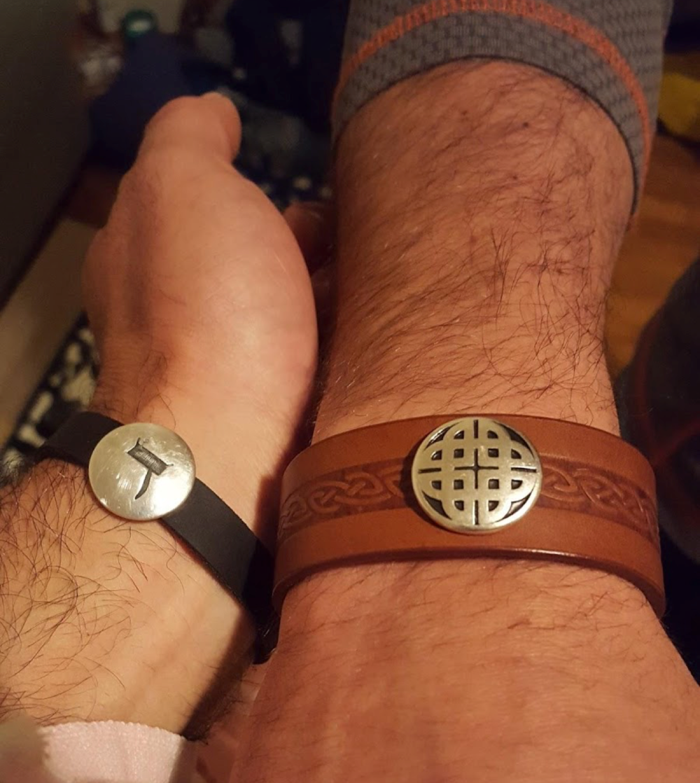 My friend, Ryan, and I sharing the ancestral bracelets our mothers synchronistically got us each.