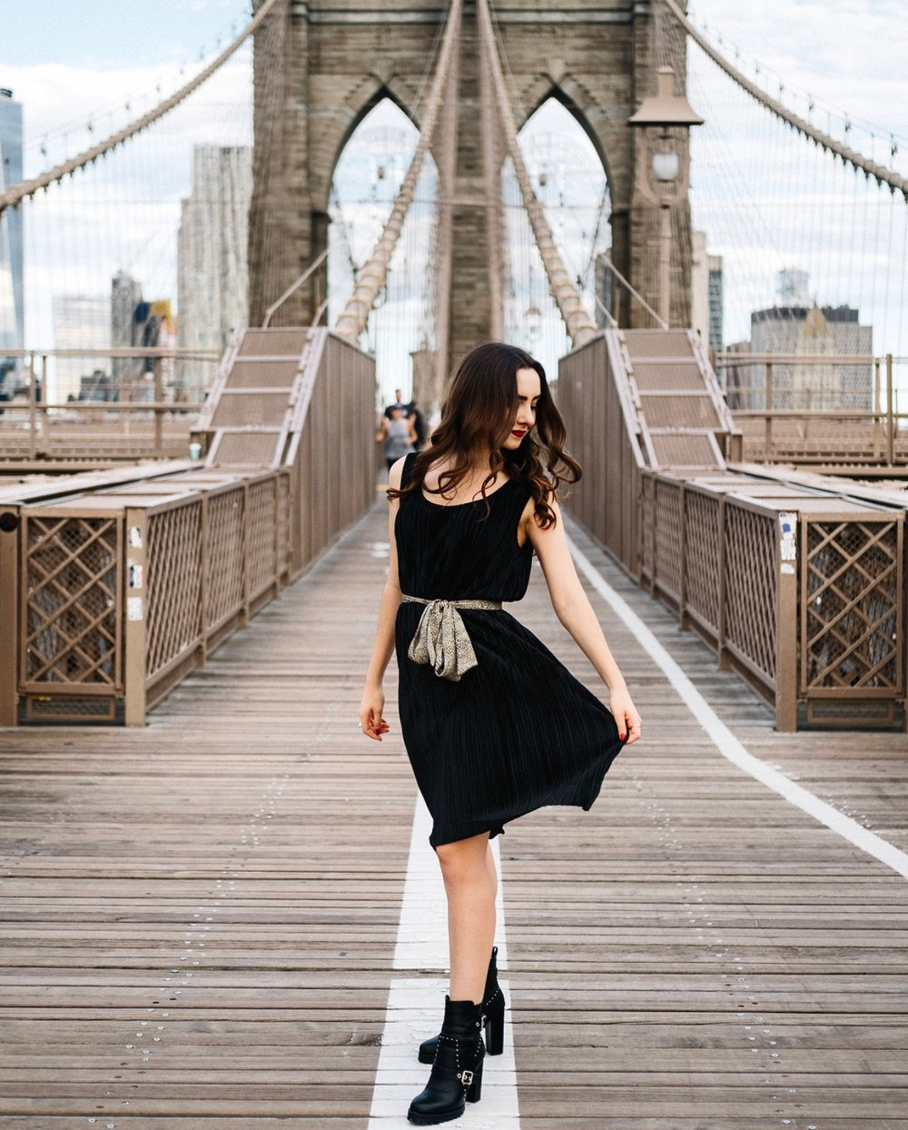 H&M Pleated Dress and scarf, Nasty Gal Motto Boots