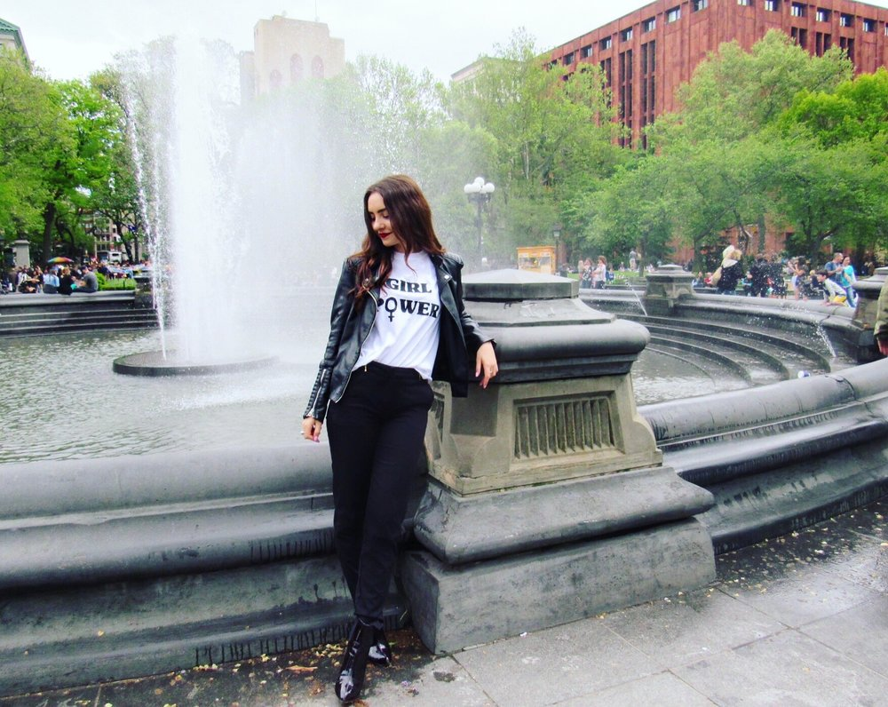 H&M Leather Jacket, Booties & Pants, Boohoo T-Shirt