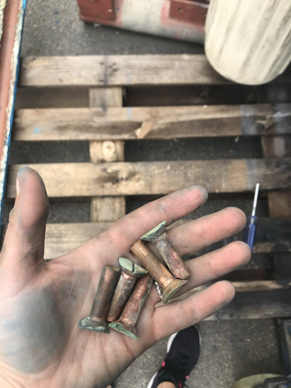 sheared rudder bolts