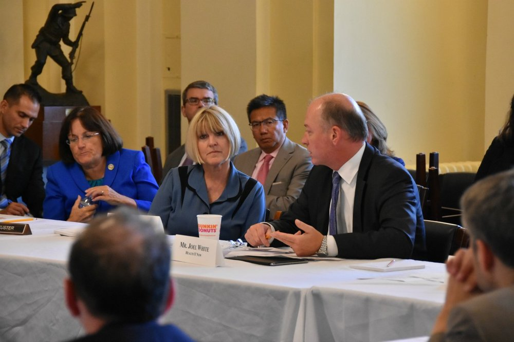 Health IT Now's Joel White speaks at a Congressional round table on the importance of telehealth as Rep. Ann Kuster (D-NH) looks on (far left).