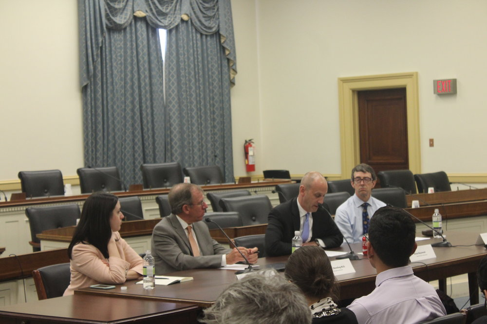 Guest speakers at a Health IT Now briefing speak to Congressional staffers about barriers to optimal health data use.