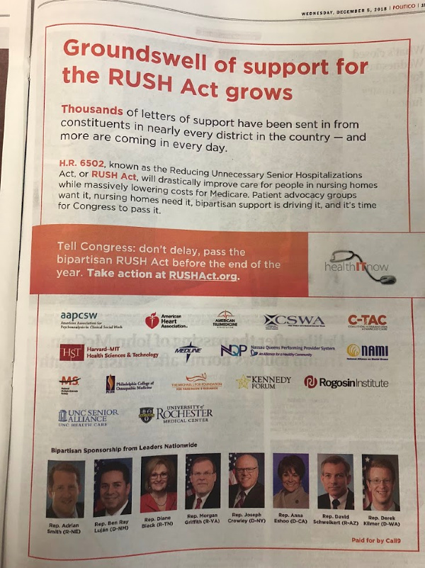Health IT Now's full-page ad in the December 5th and 6th print editions of Politico urging passage of the RUSH Act.