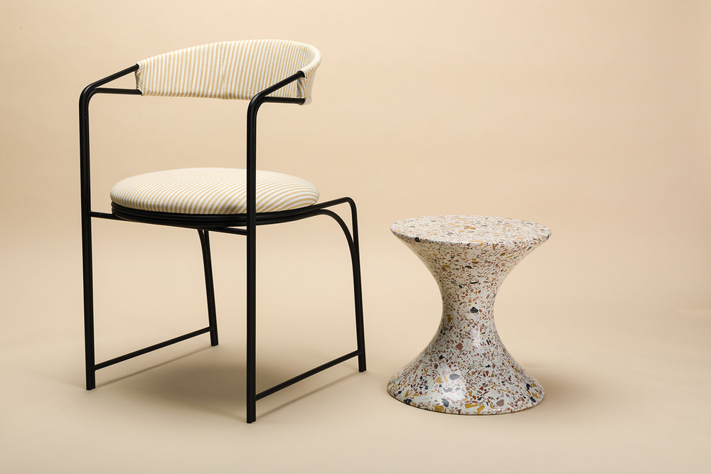 LAUN   Bacall Chair Confetti Table S 003_photo Credit Little League  Studio