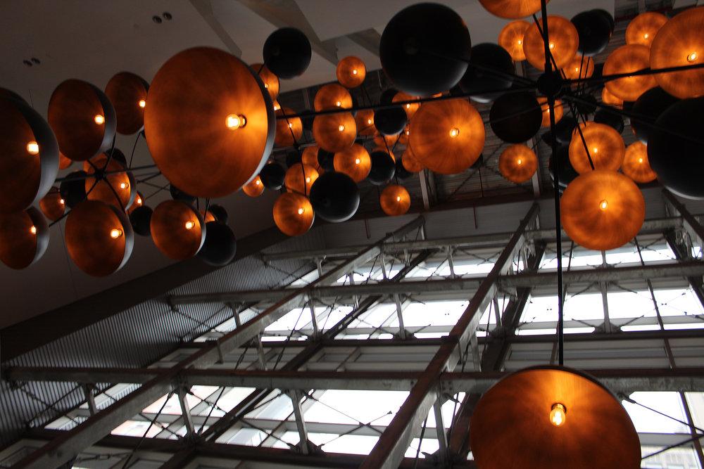 80 ft Chandeliers - INDUSTRIAL DESIGN GLASS FACADE