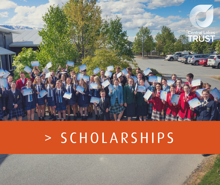 Central Lakes Trust Tertiary Scholarship Programme for the 2019 opens 1st June 2018, closing 5pm, 6th July 2018. You can download the guidelines and application form here.   > Tertiary Education Scholarship Programme Guidelines & Application Form