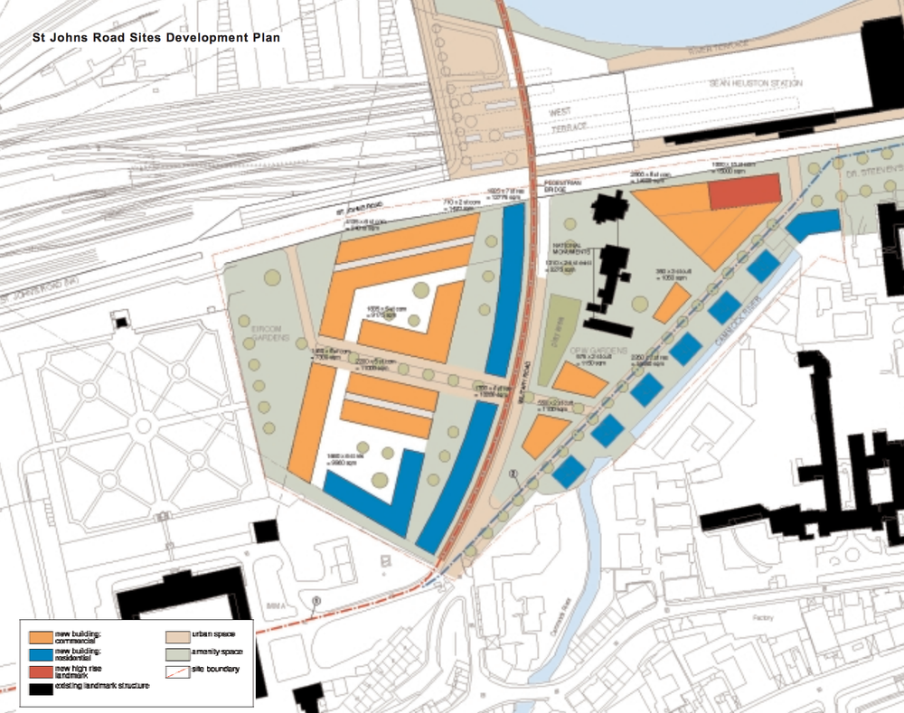 The rough plan in the 2003 Heuston Gateway Development Framework created by Dublin City Council.