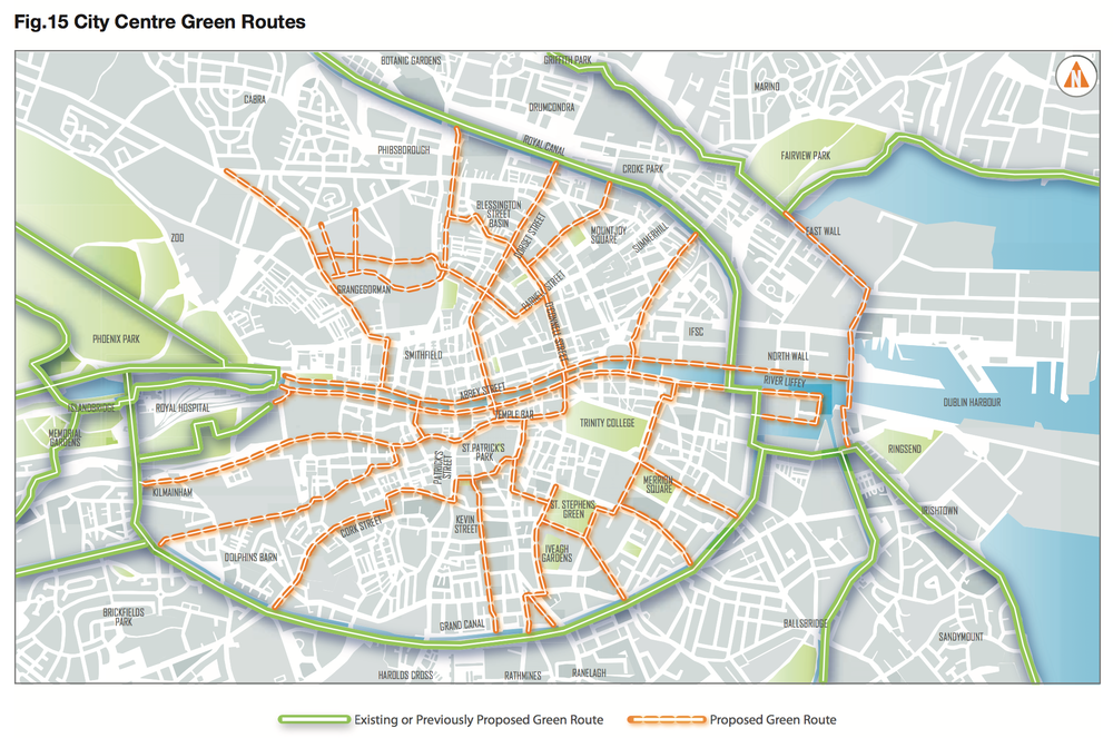 In this map from the Dublin City Development Plan the greenway is clearly marked.
