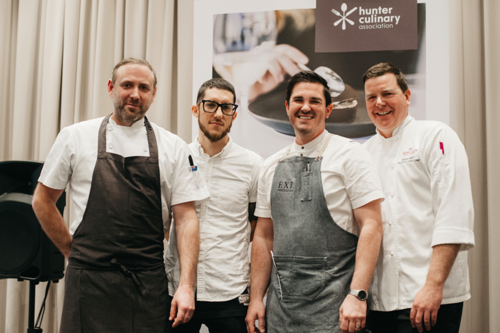 From left to right: Joel Bickford (Aria) Mitch Orr (Acme) Frank Fawkner (EXP Restaurant) Hamish Watt (Crowne Plaza)