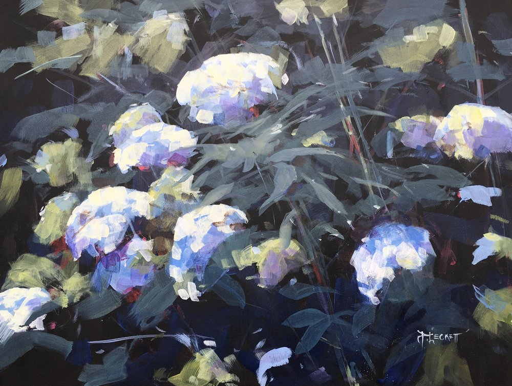 Hydrangea - 2017, acrylic on panel18x24 in