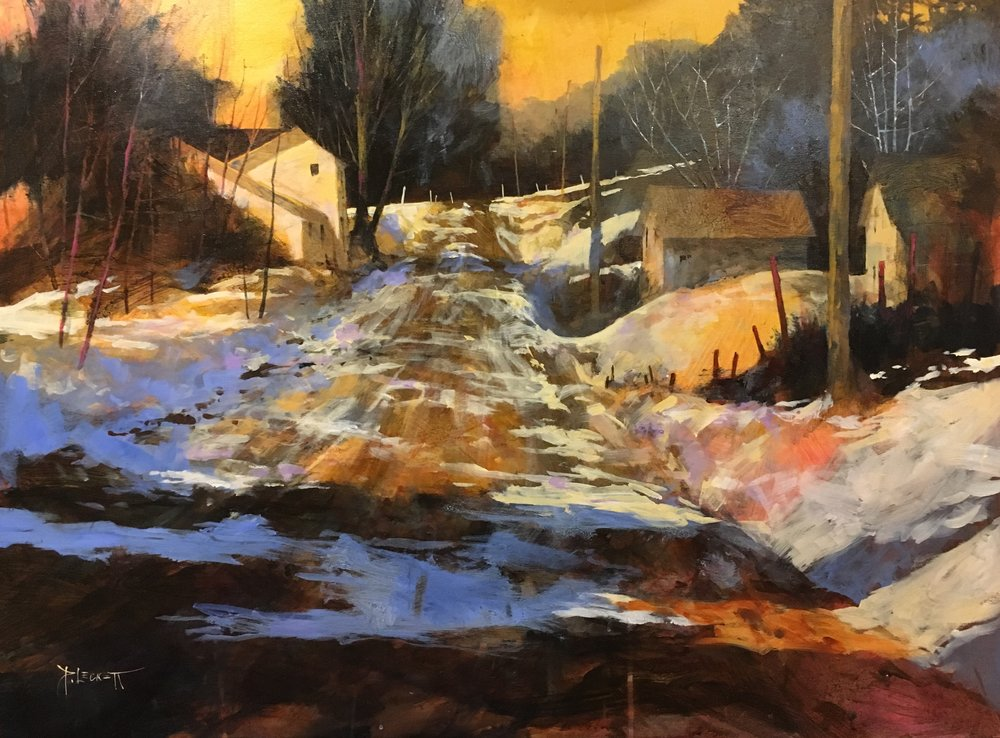 Winter Village - Eastern Ontario - 2018, acrylic on panel30x40 in