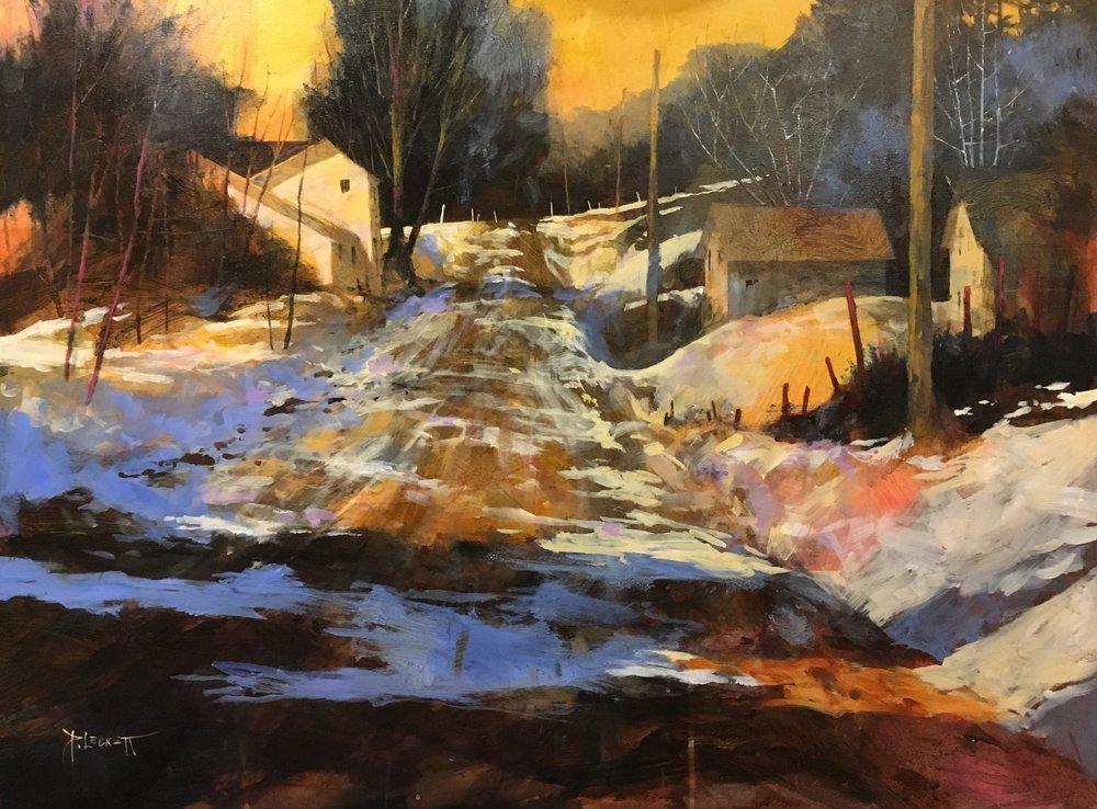 Winter Village - Eastern Ontario - 2018, acrylic on panel30x40 in