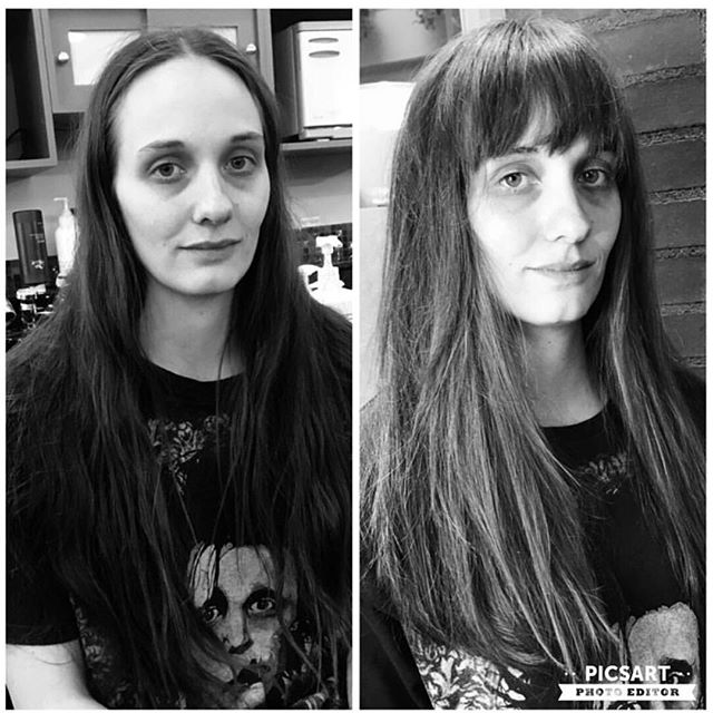 New Year, New You. This was her first haircut in 5 YEARS!! Cut and style by @loni_a_stylst  #newhaircut #newyearnewyou #newyearnewhair #modernsalon #bangs #hairstyles #haircut