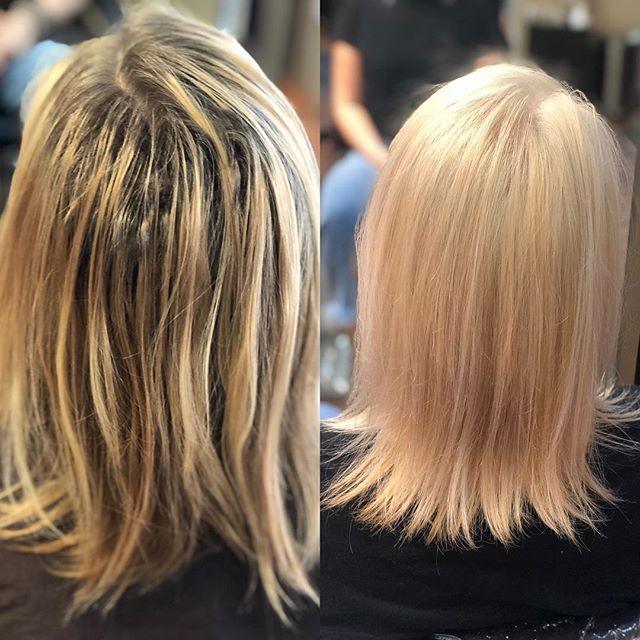 A very nice refreshing before and after by @amberlouisehair. Come on in to get freshened up this new year!  #beforeandafter #blonde #blondehair #wella #wellacolor #wellatoner