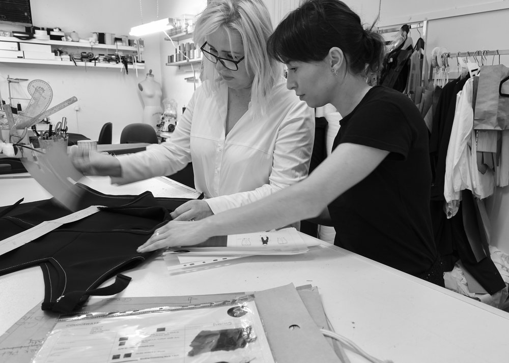 our supply chain - do you ever ask who, how and where your clothes are made..? we do!.all our garments are made locally – within a 60km radius from our Sydney or Melbourne studio.we work with a variety of independent businesses across our supply chain in Australia. there are many steps in the production process – designing, fabric sourcing, pattern making, grading, cutting and making. we ensure that we maintain transparency across the board. you will find a link to the businesses involved in the making of the garment in each description. this isn't only creating a more personal and honest connection between the wearer and the garment, it also acknowledges all the incredible and hardworking people that make it possible.we source our fabric ethically and sustainably, using GOTS certified organic, deadstock and repurposed materials.our garments are animal fiber free. our aim is to offer an alternative that matches the quality and feel of the finest animal fibres available.some garments are a limited edition series, which means your garment is unique. the limited edition nature of our products helps us to promote sustainability in the fashion industry by reducing waste. . *due to deadstock and repurposed materials having a previous life, it is difficult to track down the dying process. sadly some dyes are made with animal-derived ingredients, normally insects. This is the only reason we do not label our garments VEGAN.these garments are clearly labelled with the symbol *.
