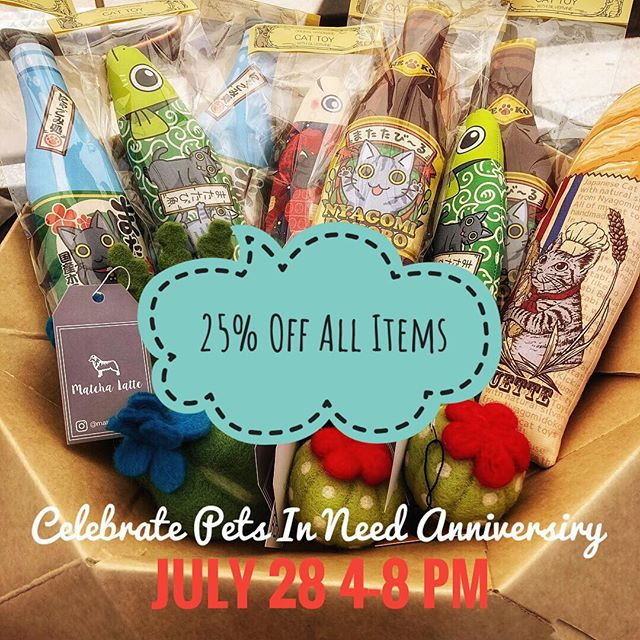 Today is the day! 🎉 Let's celebrate @petsinneed1965 Pets In Need Anniversary in Redwood City tonight from 4 to 8pm. We will offer extra 5% discount if you adopt a furbaby today. 👏 See you there. 🐕🐈🐕🐩🐈