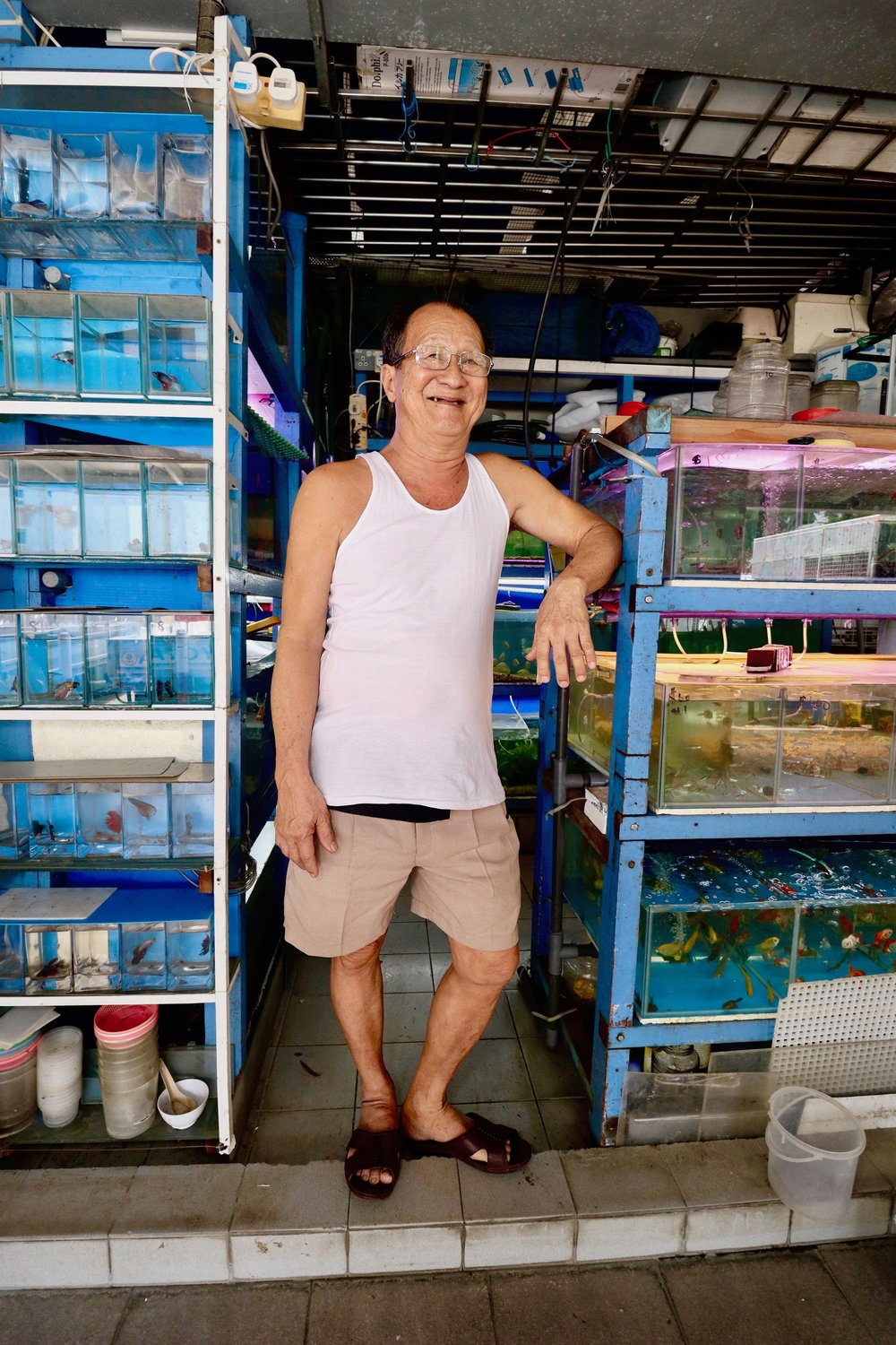 MELODEE TAN  Uncle Heng has been running his pet fish business for 36 years, ever since his wife started it in 1982. He took over the shop more than a decade ago after she passed away, and is continuing to keep her dream alive today. I have been buying my pet fishes from him for a few years now, but I am aware of the declining interest in rearing pet fishes amongst young people nowadays. Instead, they go for exotic aquatic animals that cannot be found in the common neighbourhood pet fish shop. Despite the decline in business, Uncle Heng is still there with his fishes as he always has been, and his constant presence in my life as a Tampines resident is reassuring.
