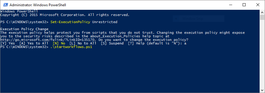 StartWorkflow1 screenshot in  Powershell