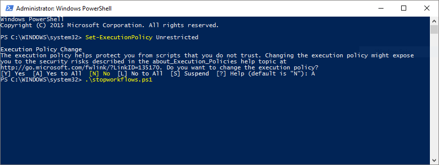 PowerShell: Terminate a workflow for all items in a list on