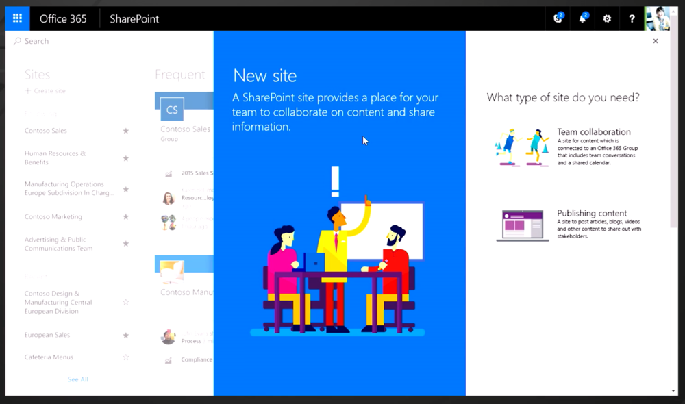 SharePoint - create new site