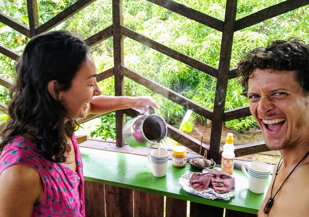 Experimenting with different cacao drink recipes in the Amazon.
