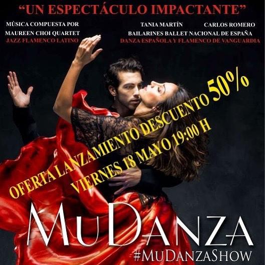 Oferta de lanzamiento, Hoy y mañana entradas de #mudanzashow al 50%. Ven al @arlequingranviamadrid a disfrutar del mejor espectáculo de flamenco jazz, con @taniamarvel_dancer y @carlosro_dancer acompañados de @maureen.choi quartet. www.teatroarlequingranvia.com