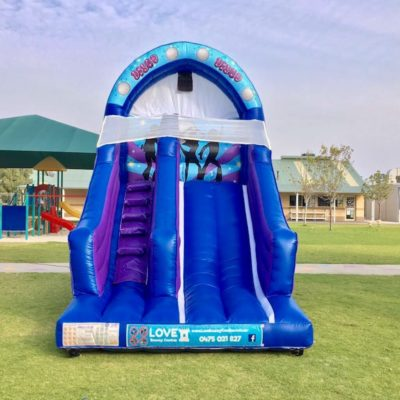 DISCO BOUNCY CASTLE SLIDE BLUE     $299