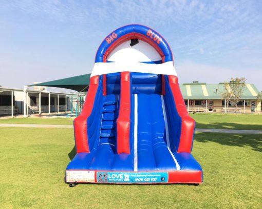 Big Blue bouncy castle super slide hire