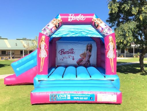 Barbie bouncy castle hire with slide Baldivis