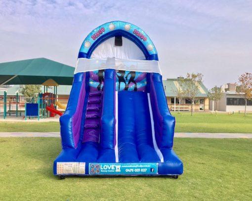 Blue Disco bouncy castle super slide hire