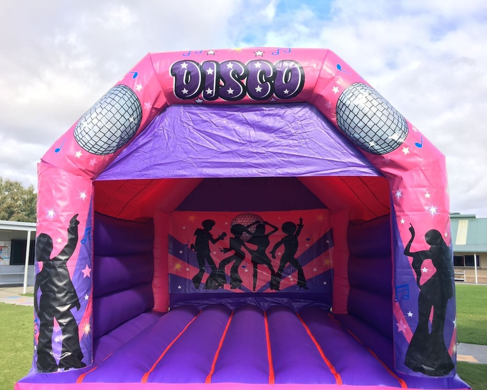 Pink Disco Fever Adult Bouncy Castle Hire Mandurah