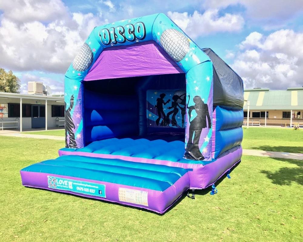 Blue Disco Fever Adult Bouncy Castle Hire Rockingham