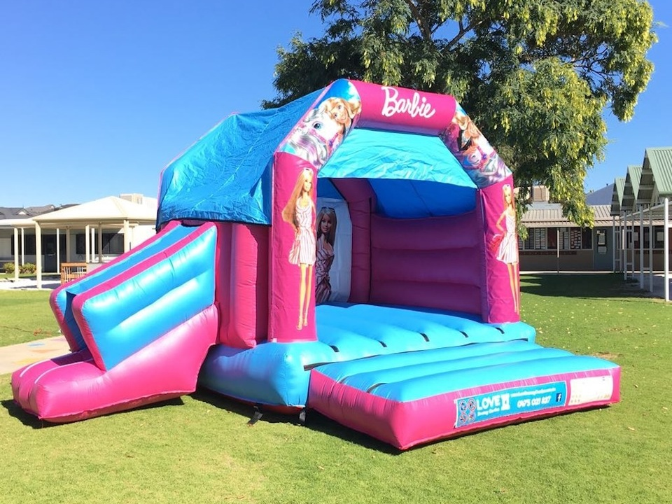 Barbie bouncy castle hire with slide Rockingham