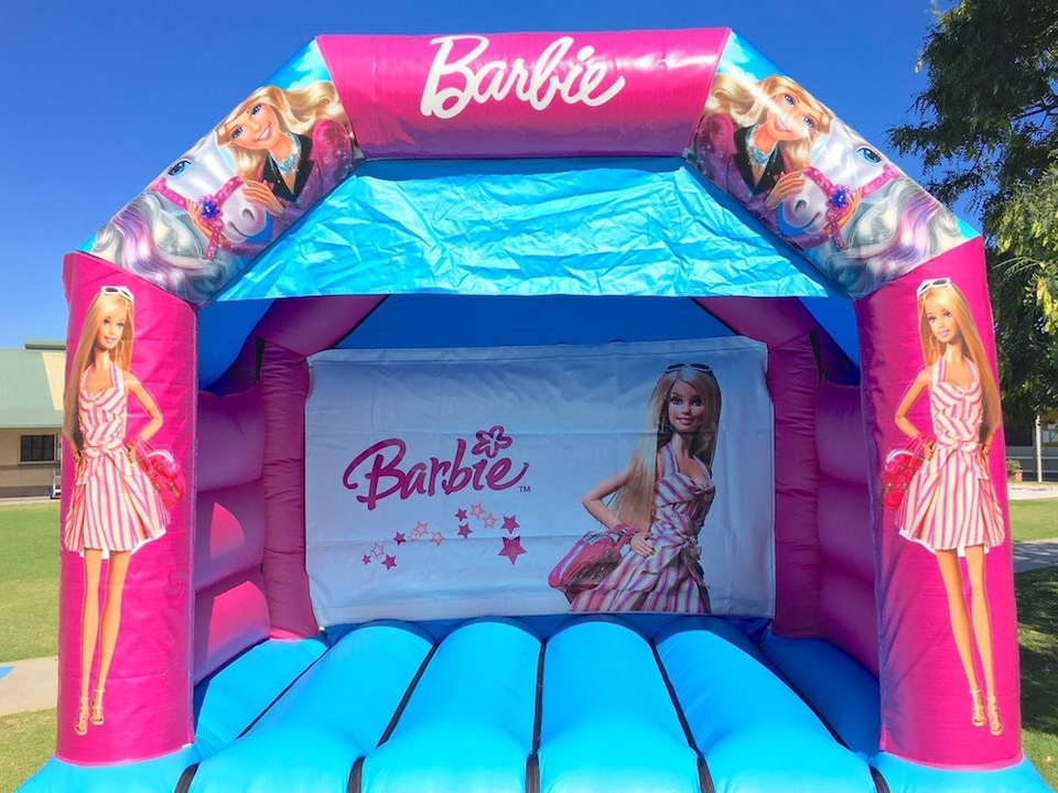 Barbie bouncy castle hire with slide Mandurah