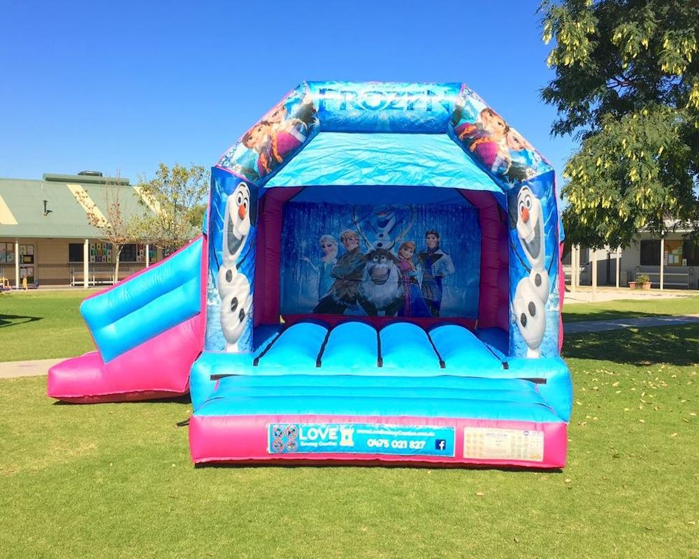 Frozen bouncy castle hire with slide Baldivis
