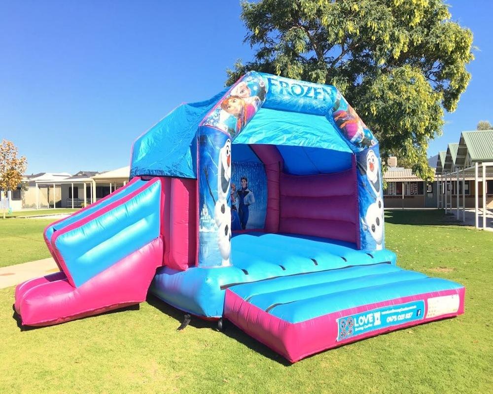 Frozen bouncy castle hire with slide Rockingham