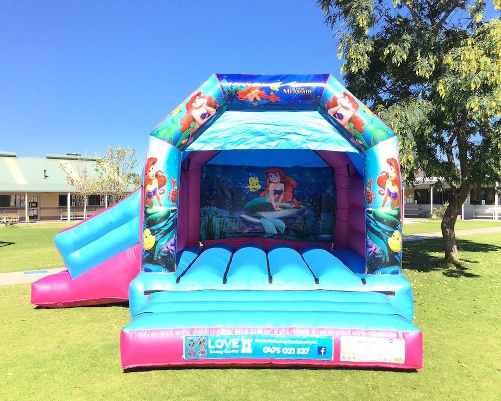 Little Mermaid bouncy castle hire with slide Baldivis