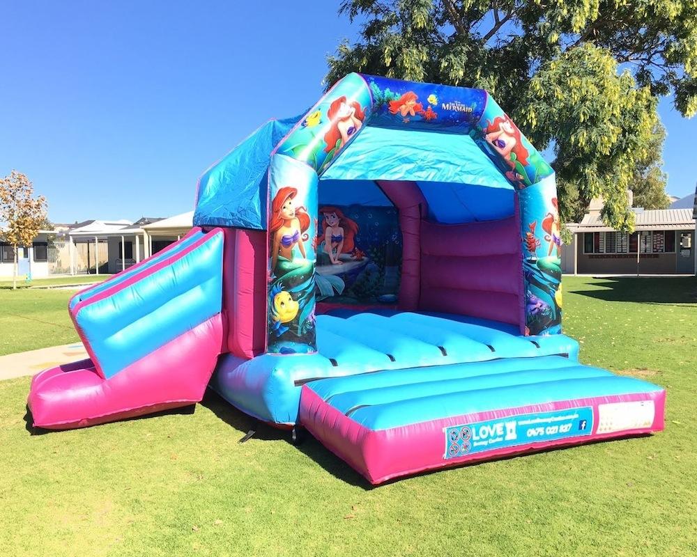 Little Mermaid bouncy castle hire with slide Rockingham