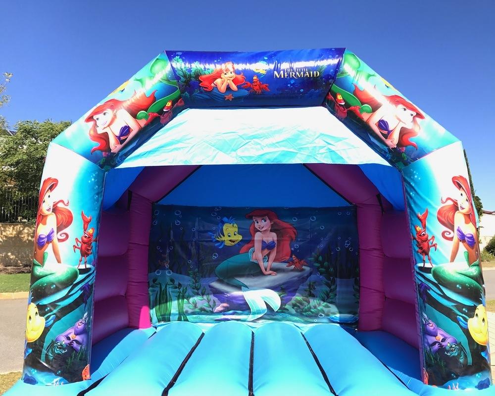 Little Mermaid bouncy castle hire with slide Mandurah