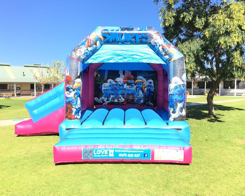 Smurfs bouncy castle hire with slide Baldivis